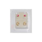 Studex Ear Piercing Gold Plated Birthstone Stud Earrings 4mm Bezel Setting - October / Rose
