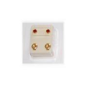 Studex Ear Piercing Gold Plated Birthstone Stud Earrings 4mm Bezel Setting - July / Ruby