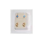 Studex Ear Piercing Gold Plated Birthstone Stud Earrings 4mm Bezel Setting - September / Sapphire