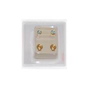Studex Ear Piercing Gold Plated Birthstone Stud Earrings 4mm Bezel Setting - March / Light Blue
