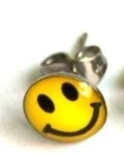 1 pair yellow smiley face happy earrings studs stainless steel