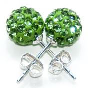 Busy Bead Pair of Shamballa Stud Earrings With Peridot Crystal Rhinestone Clay Disco Ball 8mm