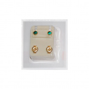 Studex Ear Piercing Gold Plated Birthstone Stud Earrings 4mm Bezel Setting - May / Emerald