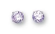 Sterling Silver Cubic Zirconia Stud Earrings 6Mm Round