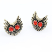 Red Owl Antique Gold Tone Diamante Stud Earrings