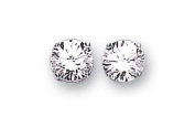 Sterling Silver Cubic Zirconia Stud Earrings 8Mm Round