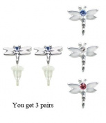 Dragon Fly stud earrings with. crystals - hypo allergic UPVC posts - white gold plated so looks like real - you get a set of 3 - easy to wear, suitable for everyday wear