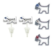Dog stud earrings with. crystals - hypo allergic UPVC posts - white gold plated so looks like real - you get a set of 3 - easy to wear, suitable for everyday wear