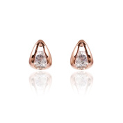 Fashion Plaza 18k Rose Gold Plated Tiny Teardrop Stud Earring With Round Cubic Zircon 5mm*7mm E440