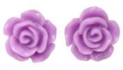 12mm Rose Earrings Light Purple Stud Kids Childrens Girls
