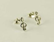 Earring Silver Stud Music Note