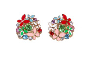 Delightful Garden Party Enamel Stud Earrings with Sparkly Crystals (In Gift Pouch) Cute Quirky Kitsch Unique Fashion Jewellery