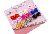 Pack of 9 Pairs Colour Rose Stud Earrings, Fashion Jewellery for Teen Girls Women