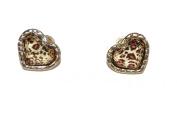 Leopard Print Heart Shaped Stud Earrings Very Pretty (Supplied in a Gift Pouch) Unique Jewellery