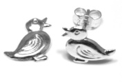 Duck Stud Earring - Genuine 925 Sterling Silver