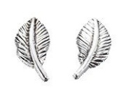 Silvadore - 925 Sterling Silver Stud Earrings Bird Feather Leaf Plain Antique A886 - Butterfly Clasp.