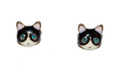 Blue Eyed Kitty Cat Enamel Stud Earrings with Shiny Crystals