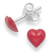 Gift Boxed - Sterling Silver Red Enamel Heart stud - size