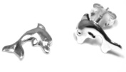 Dolphin Stud Earring - Genuine 925 Sterling Silver