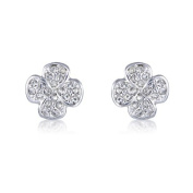 Glitzy Diamante Costume Jewellery Fashion - Cute Four Leaf Clover Stud Earrings for Good Luck - arrives in a Pretty Keeps Sake Gift Bag.