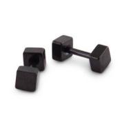 Urban Male Black Stainless Steel 4mm Square Stud Earrings