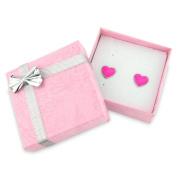 Pink heart earrings - Women's / Girls stud pink fashion earrings - arrive in a pink gift box