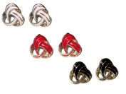 Gold & Red Enamel Twist Stud Earrings EA606