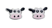 Silvadore - 925 Sterling Silver Stud Earrings Cow Animal Farm Face Pink White A882 - Butterfly Clasp.