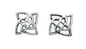 Silvadore - 925 Sterling Silver Stud Earrings Celtic Square Shape Design Antique A170 - Butterfly Clasp.