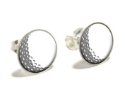 Golf Ball Novelty Silver Plated Stud Earrings