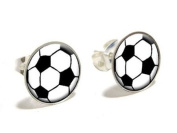 Soccer Ball Novelty Silver Plated Stud Earrings