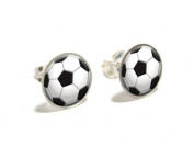 Soccer Ball Sporting Goods Sportsball Novelty Silver Plated Stud Earrings