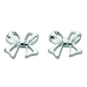 Small Silver Bow Stud Earrings In Sterling Silver
