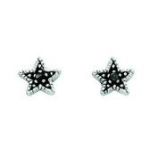 Grey Crystal Oxidised Star Stud Earrings In Sterling Silver