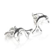 925 Sterling Silver Large Dolphin Stud Earrings / Studs