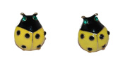 Large Yellow Enamel Ladybird Ladybug Stud Earrings (Supplied in a Gift Pouch) Unique Jewellery