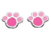 Unique Wishlist Sterling Silver Pink Paw Studs