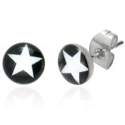 Urban Male Mens Stud Earrings Stainless Steel Star Design 6mm
