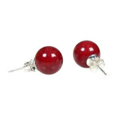Solid Sterling Silver 8MM Natural Gemstone Ball Studs With Butterfly Backs In Red Coral
