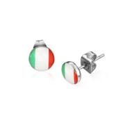 Urban Male Stainless Steel Flag Of Italy Stud Earrings 7mm