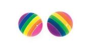 Large plastic rainbow stud earrings
