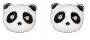 Black and White Enamel Plated Panda Stud Earrings with Sparkly Crystals (Supplied in a Gift Pouch) Unique Jewellery