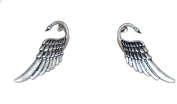 Antique Silver Swan with Beautiful Wings Stud Earrings Very Elegant and Pretty (Supplied in a Gift Pouch) Unique Jewellery