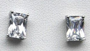Mbody, Rhodium Plated Sterling Silver, 6x4mm Rectangular Shaped, Clear Cz Set Solitaire Earring Studs