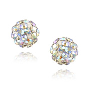 Sterling Silver Aurora Borealis Crystal Fireball Stud Earrings, 6mm
