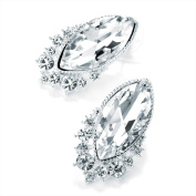 Divadoo Shiny Silver Colour Crystal Oval Earrings