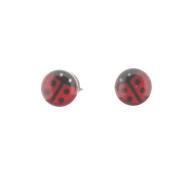 Sterling Silver Stud Earrings with Resin Ladybird