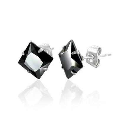 Urban Male Mens Stud Earrings 6mm Black Agate In Stainless Steel (Pair)