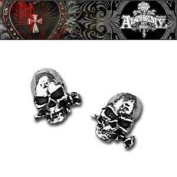 Alchemy Gothic Pair Of Alchemist Skull Pewter Stud Earrings - One Size