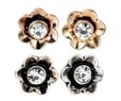 Twin Pack Gold & Silver Tone Small Flower Stud Earrings With White Diamante Centre - Comes In An Organza Bag